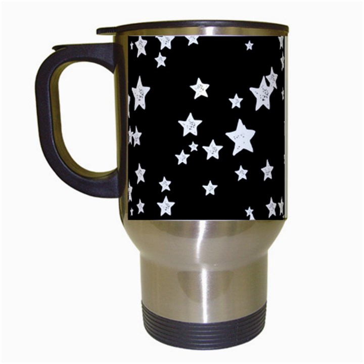 Black And White Starry Pattern Travel Mugs (White)