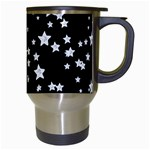 Black And White Starry Pattern Travel Mugs (White) Right
