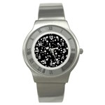 Black And White Starry Pattern Stainless Steel Watch Front