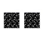 Black And White Starry Pattern Cufflinks (Square) Front