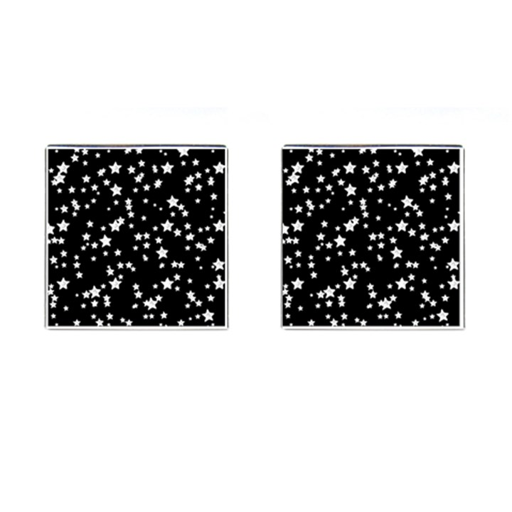 Black And White Starry Pattern Cufflinks (Square)