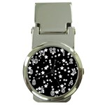 Black And White Starry Pattern Money Clip Watches Front
