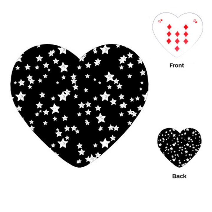Black And White Starry Pattern Playing Cards (Heart)