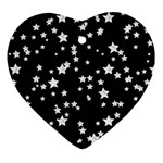 Black And White Starry Pattern Heart Ornament (2 Sides) Front