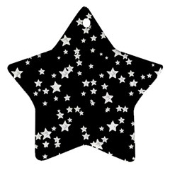Black And White Starry Pattern Star Ornament (two Sides)