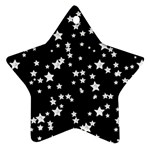 Black And White Starry Pattern Star Ornament (Two Sides)  Back