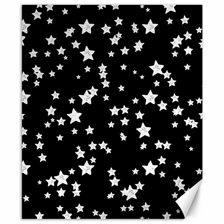 Black And White Starry Pattern Canvas 8  x 10