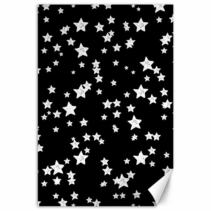 Black And White Starry Pattern Canvas 24  x 36