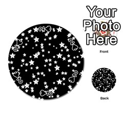 Black And White Starry Pattern Playing Cards 54 (round)