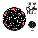 Black And White Starry Pattern Playing Cards 54 (Round)  Front - Heart6