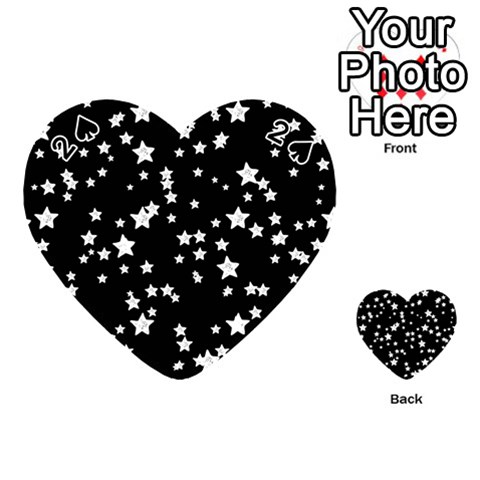 Black And White Starry Pattern Playing Cards 54 (Heart)