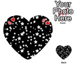Black And White Starry Pattern Playing Cards 54 (Heart)  Front - Heart6