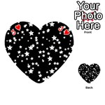 Black And White Starry Pattern Playing Cards 54 (Heart)  Front - HeartJ
