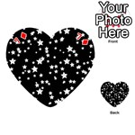 Black And White Starry Pattern Playing Cards 54 (Heart)  Front - Diamond7