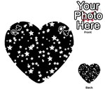 Black And White Starry Pattern Playing Cards 54 (Heart)  Front - ClubQ