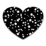 Black And White Starry Pattern Heart Mousepads Front