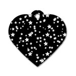 Black And White Starry Pattern Dog Tag Heart (Two Sides) Front