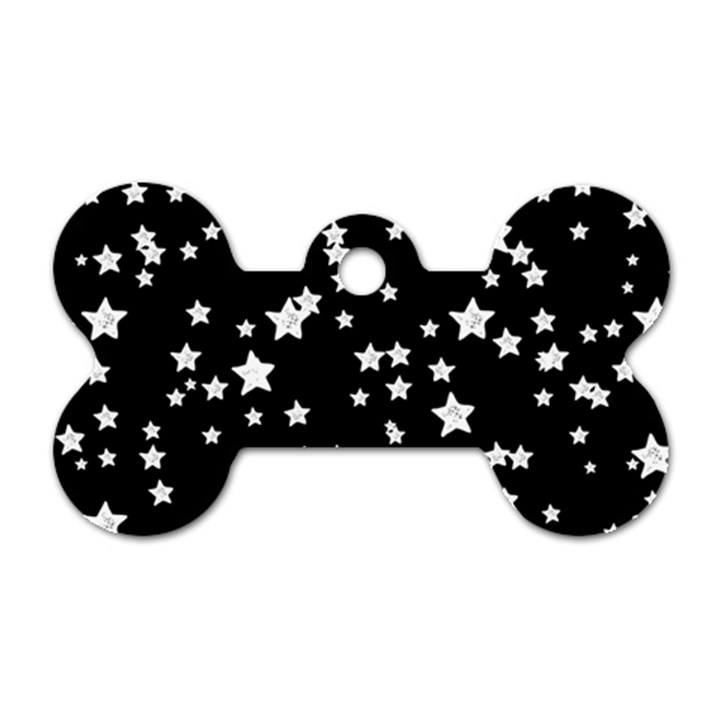 Black And White Starry Pattern Dog Tag Bone (Two Sides)