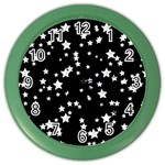 Black And White Starry Pattern Color Wall Clocks Front