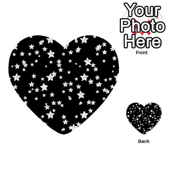 Black And White Starry Pattern Multi-purpose Cards (Heart)