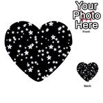 Black And White Starry Pattern Multi-purpose Cards (Heart)  Front 49
