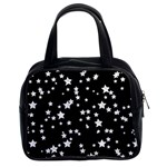 Black And White Starry Pattern Classic Handbags (2 Sides) Front