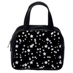 Black And White Starry Pattern Classic Handbags (2 Sides) Back