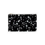 Black And White Starry Pattern Cosmetic Bag (Small)  Front