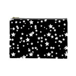 Black And White Starry Pattern Cosmetic Bag (Large)  Front