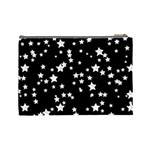 Black And White Starry Pattern Cosmetic Bag (Large)  Back