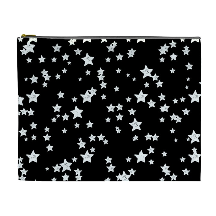 Black And White Starry Pattern Cosmetic Bag (XL)