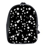 Black And White Starry Pattern School Bags(Large)  Front