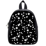 Black And White Starry Pattern School Bags (Small)  Front