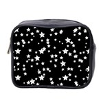 Black And White Starry Pattern Mini Toiletries Bag 2-Side Front