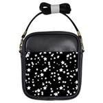 Black And White Starry Pattern Girls Sling Bags Front