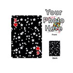 Black And White Starry Pattern Playing Cards 54 (Mini)  Front - Heart6