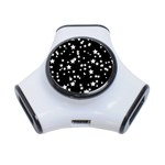 Black And White Starry Pattern 3-Port USB Hub Front