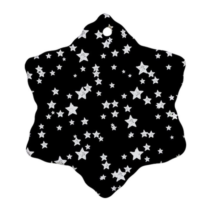 Black And White Starry Pattern Ornament (Snowflake)