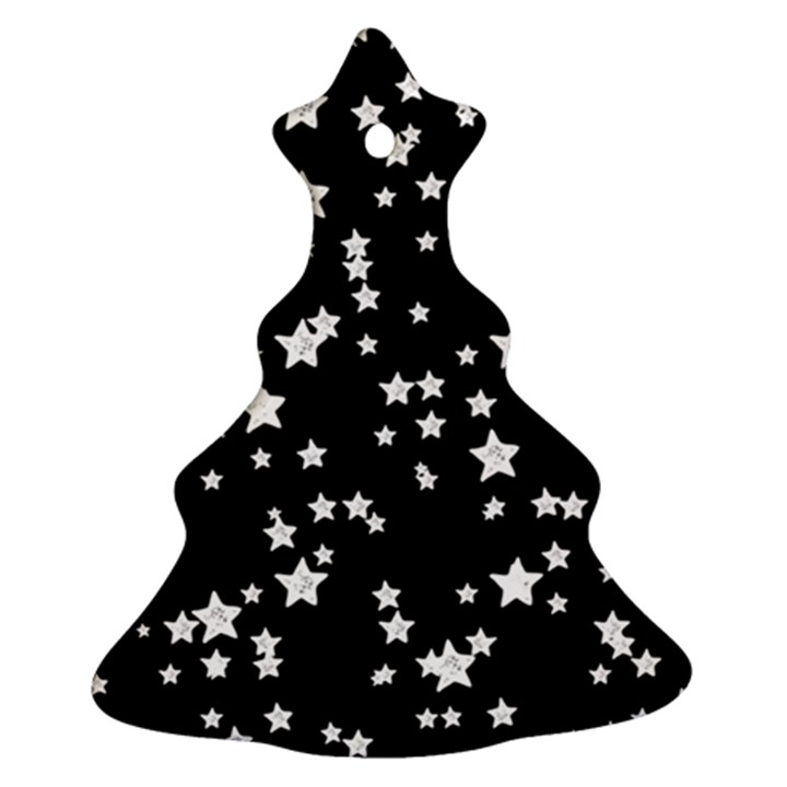 Black And White Starry Pattern Ornament (Christmas Tree)