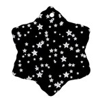 Black And White Starry Pattern Snowflake Ornament (2-Side) Back
