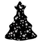Black And White Starry Pattern Christmas Tree Ornament (2 Sides) Back