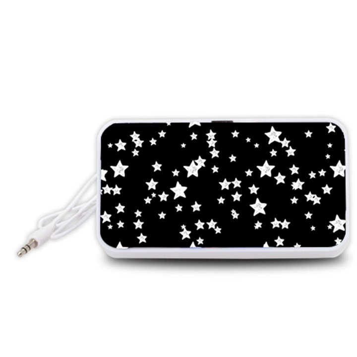 Black And White Starry Pattern Portable Speaker (White)