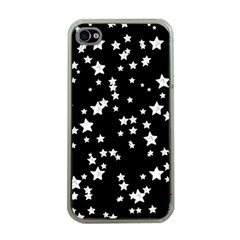 Black And White Starry Pattern Apple Iphone 4 Case (clear)