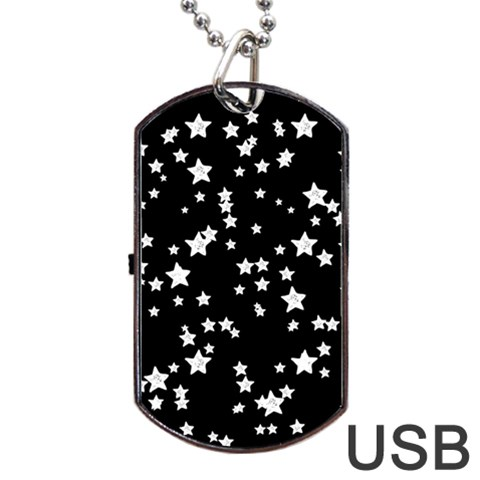 Black And White Starry Pattern Dog Tag USB Flash (One Side)