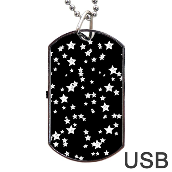 Black And White Starry Pattern Dog Tag USB Flash (Two Sides)