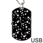 Black And White Starry Pattern Dog Tag USB Flash (Two Sides)  Back
