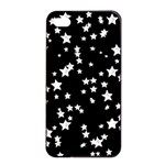 Black And White Starry Pattern Apple iPhone 4/4s Seamless Case (Black) Front