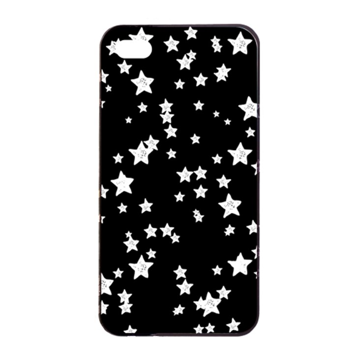 Black And White Starry Pattern Apple iPhone 4/4s Seamless Case (Black)