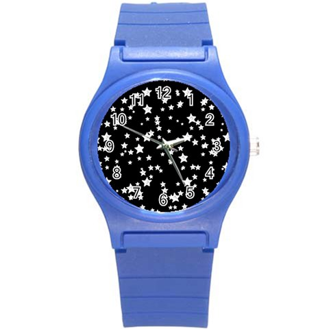 Black And White Starry Pattern Round Plastic Sport Watch (S)