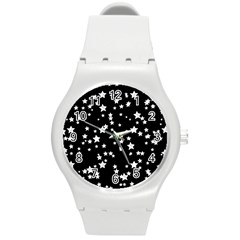 Black And White Starry Pattern Round Plastic Sport Watch (M)